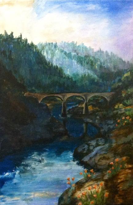 Mountain Quarry Bridge Morning 30x40